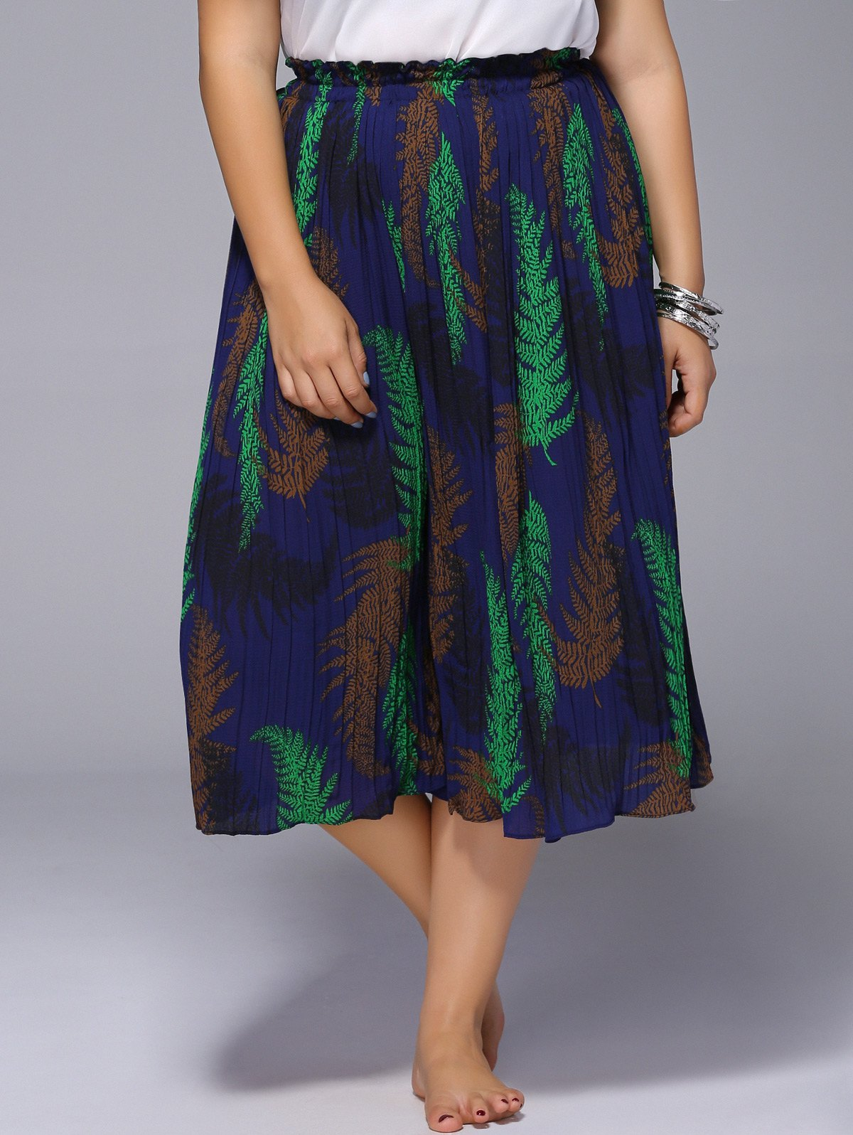 Chic Plus Size Wide Leg Pleated Women's Pants - BLUE ONE SIZE(FIT SIZE L TO 3XL)
