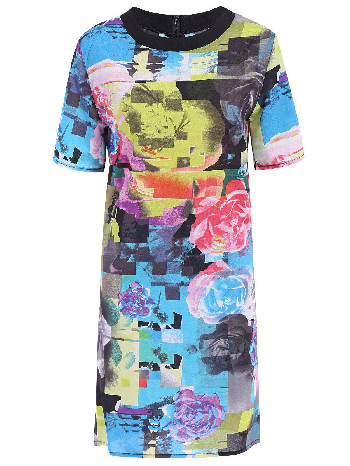 Stylish Round Neck Short Sleeve Floral Print Colored Women's Dress - COLORMIX S