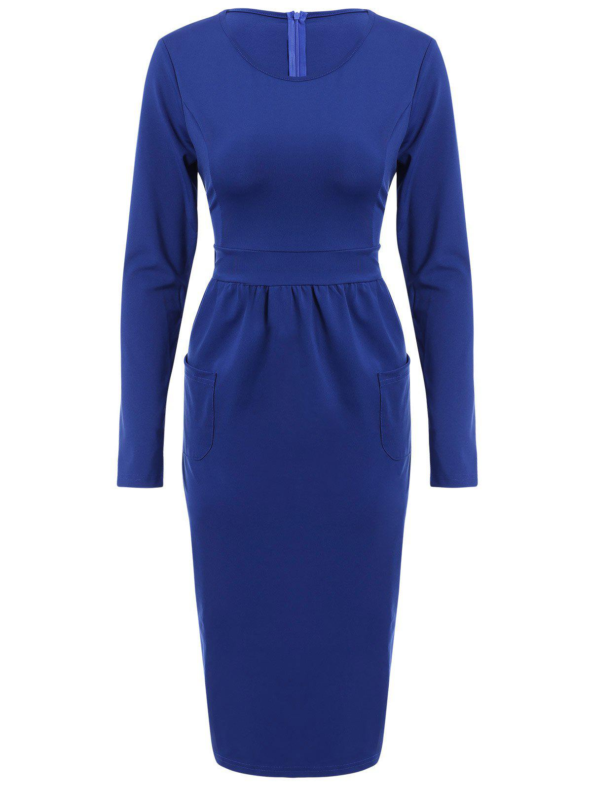 Graceful Solid Color Round Collar Long Sleeve Bodycon Midi Dress For Women - BLUE M