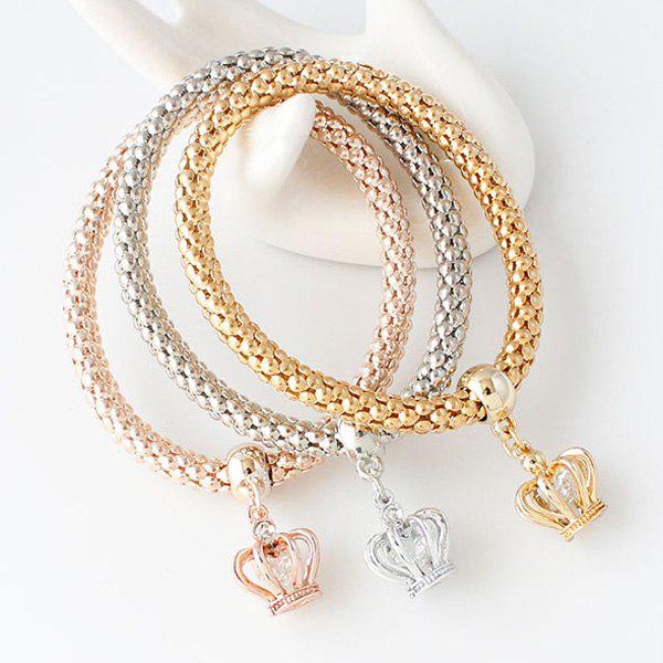 A Suit of Stylish Cut Out Crown Rhinestone Charm Bracelets For Women