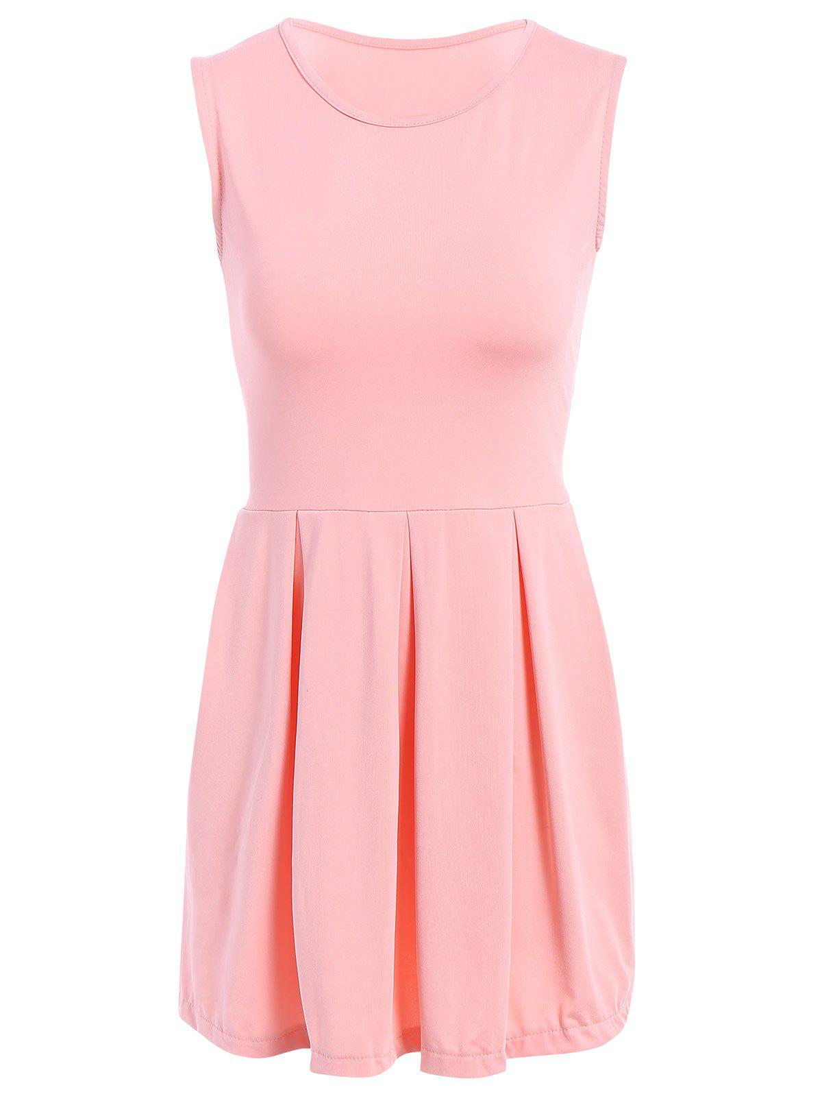Sweet Solid Color Sleeveless Pleated Mini Dress For Women - PINK M