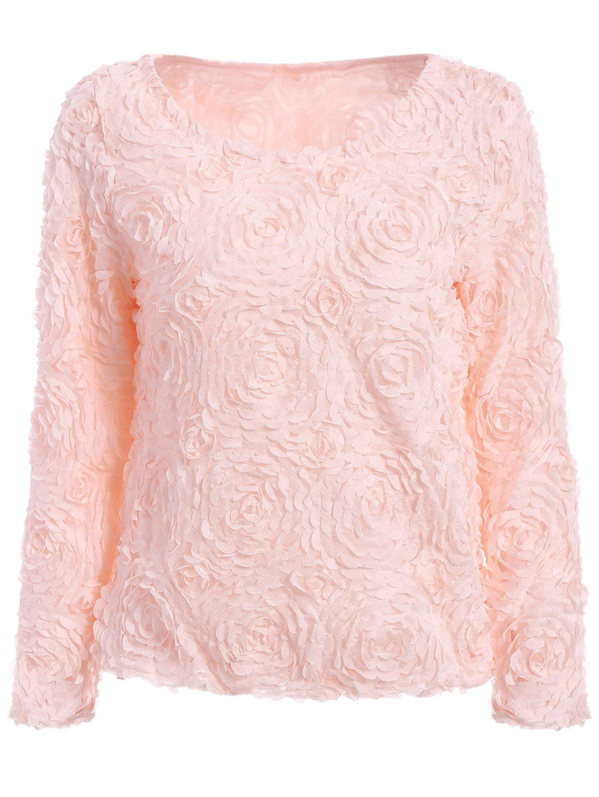 Fresh Style Solid Color Boat Neck 3D Rose Shape Long Sleeve Chiffon Blouse For Women - PINK ONE SIZE(FIT SIZE XS TO M)