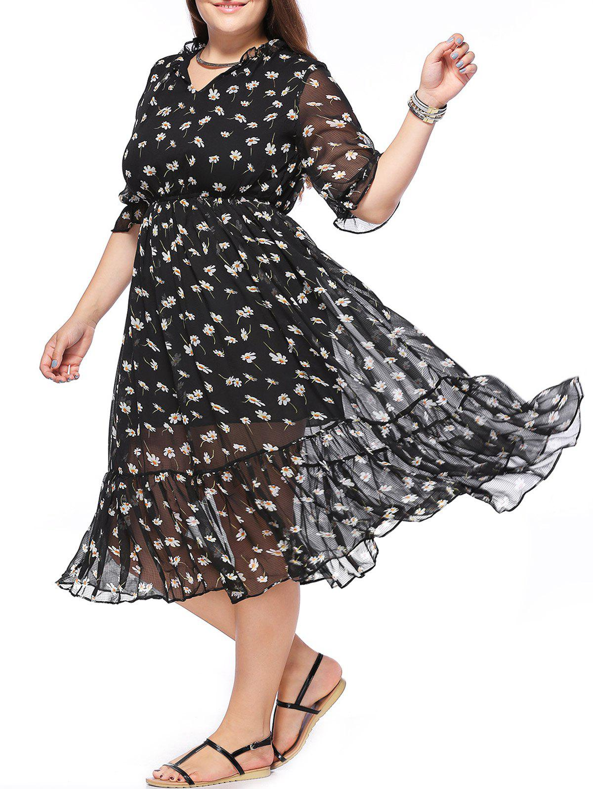 Plus Size Tiny Floral Ruffle Trim Flowing Dress - BLACK ONE SIZE(FIT SIZE L TO 3XL)
