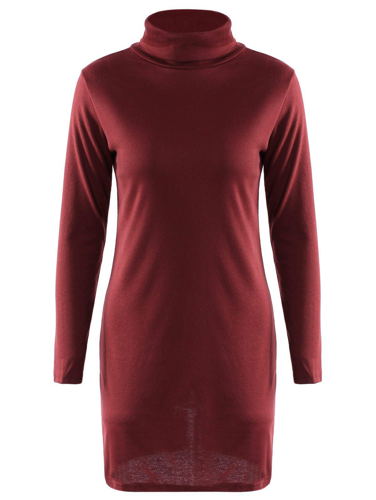 Graceful Solid Color Turtleneck Long Sleeve Slit Knitted Pencil Dress For Women - WINE RED S