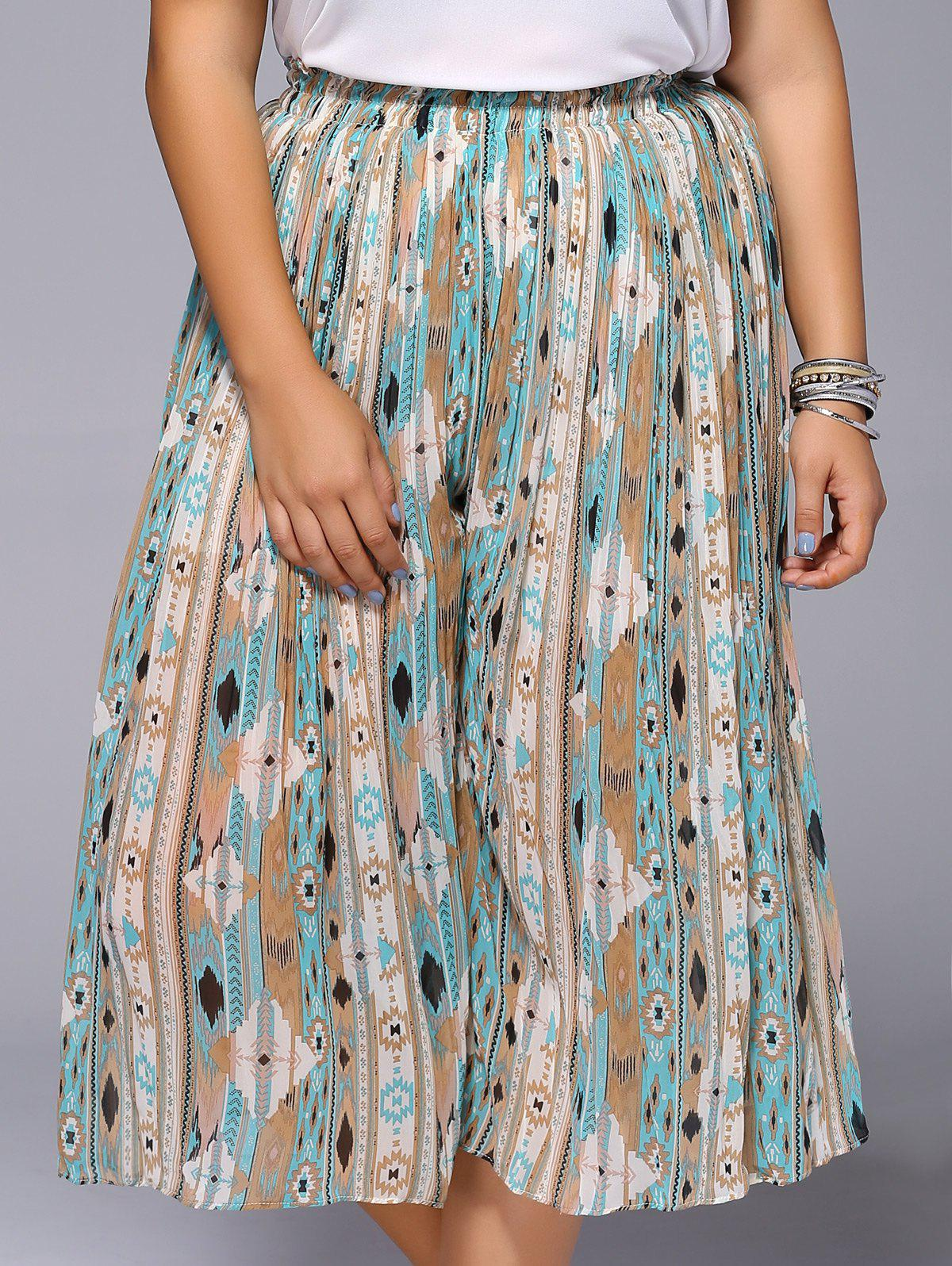Chic Plus Size Wide Leg Printed Women's Pants - ONE SIZE COLORMIX