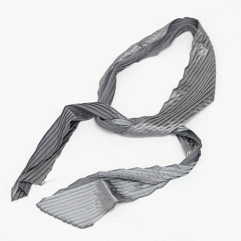 Fresh Style Wavy Edge Pleated Knotted Satin Hair Ribbon For Women - GRAY