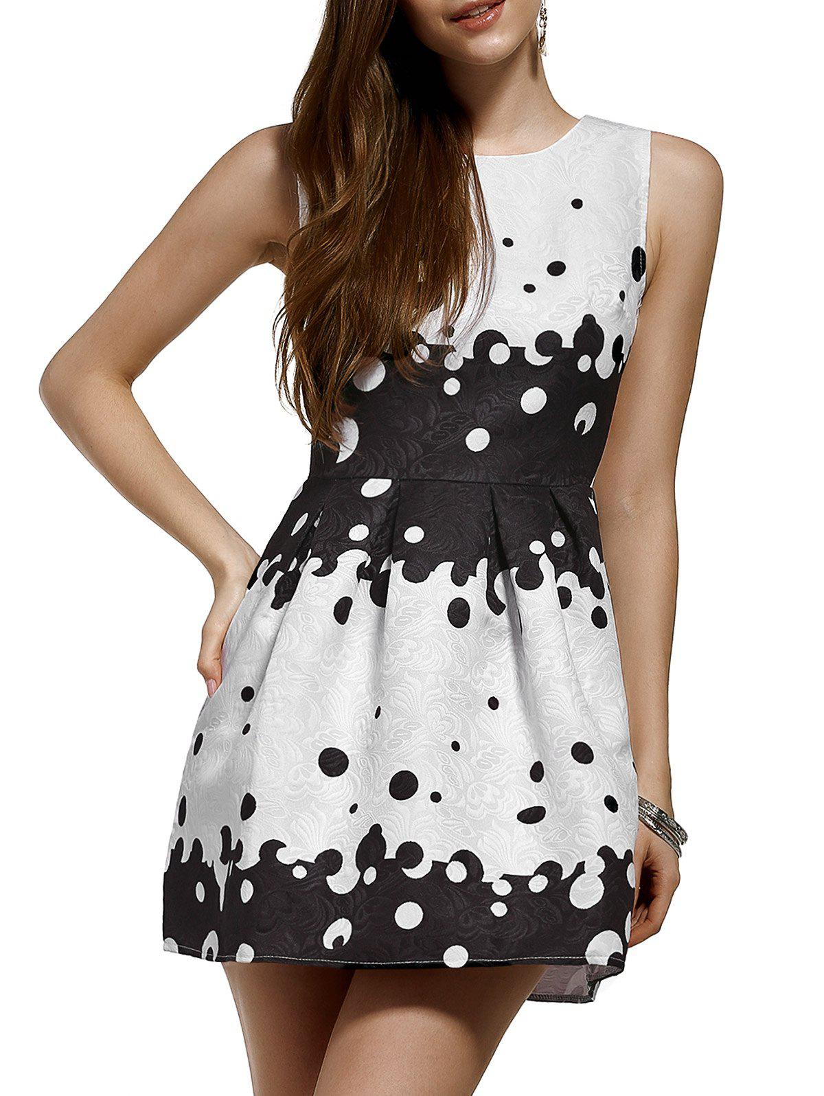 Trendy Jacquard Polka Dot Color Block Flare Dress - WHITE XL