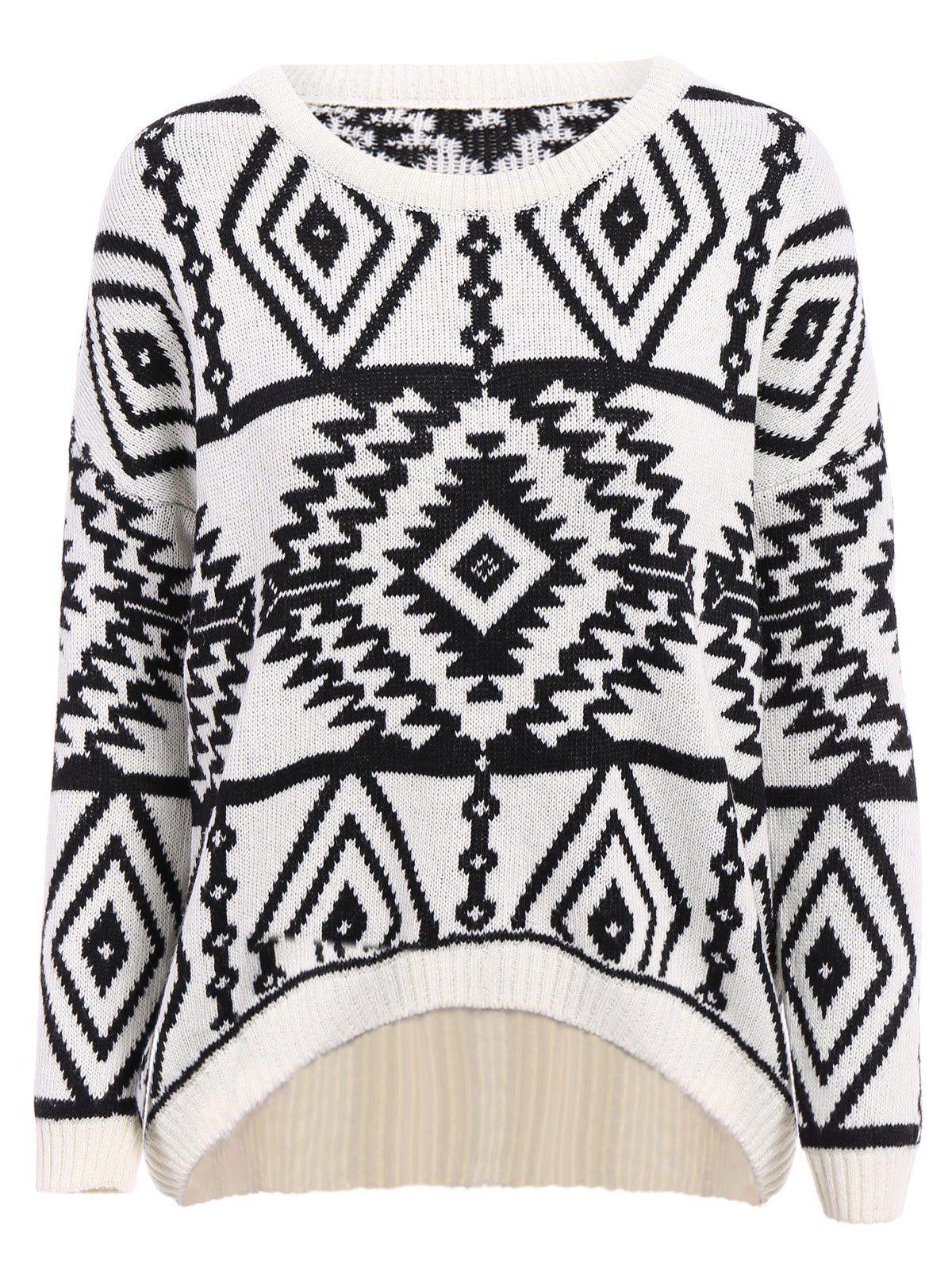 Stylish Round Collar Long Sleeve Asymmetrical Geometric Women's Sweater - ONE SIZE(FIT SIZE XS TO M) OFF WHITE