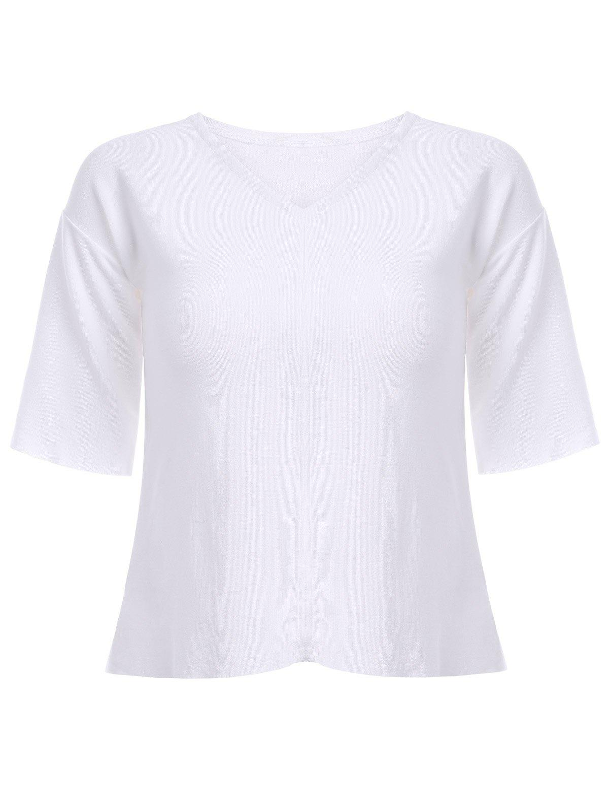 Casual Women's Tie V-Neck 3/4 Sleeve T-Shirt - WHITE ONE SIZE(FIT SIZE XS TO M)