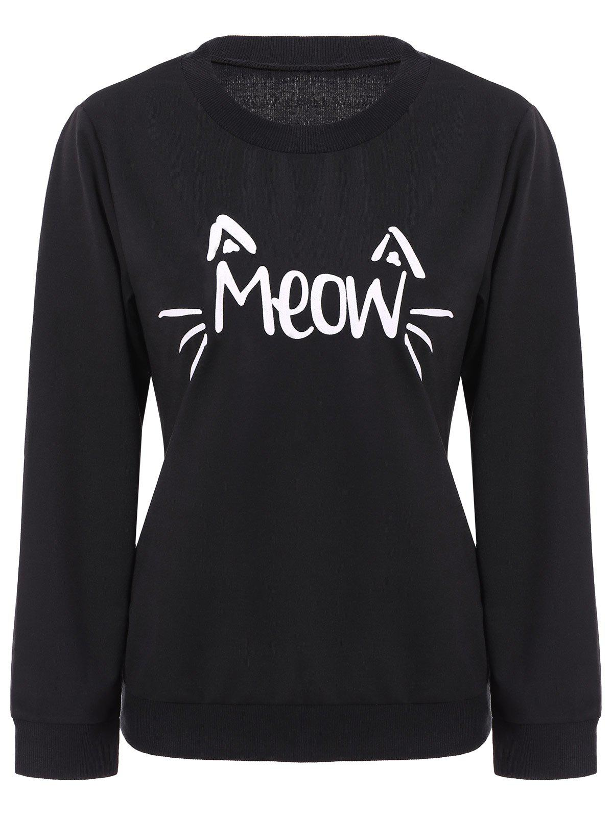Casual Letter Print Scoop Neck Long Sleeve Sweatshirt For Women - BLACK ONE-SIZE