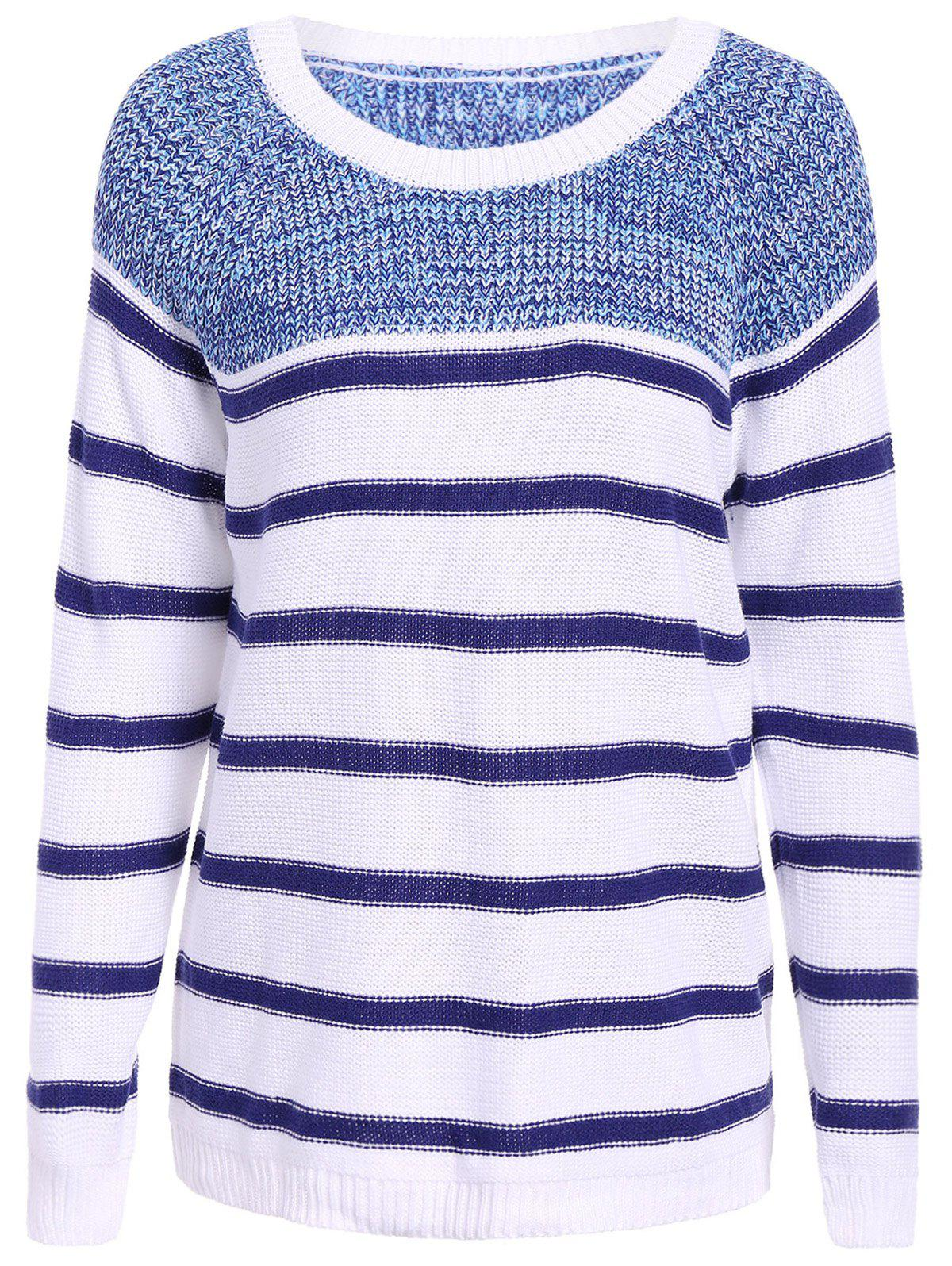 Casual Round Collar Stripe Print Long Sleeve Women's Sweater - BLUE/WHITE ONE SIZE(FIT SIZE XS TO M)