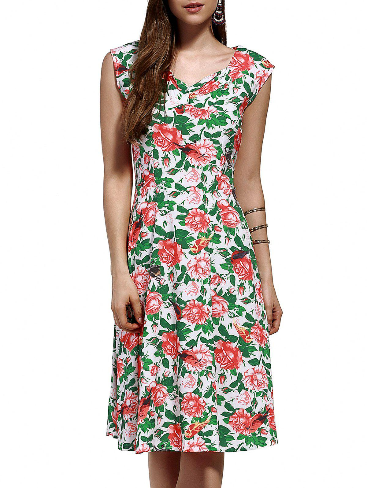 Retro V Neck Full Print Knee Length Dress - COLORMIX XL