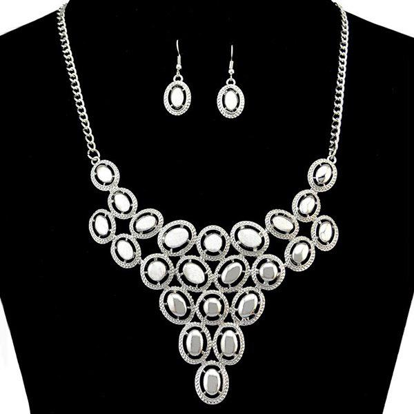 Oval Statement Necklace and Earrings - SILVER WHITE