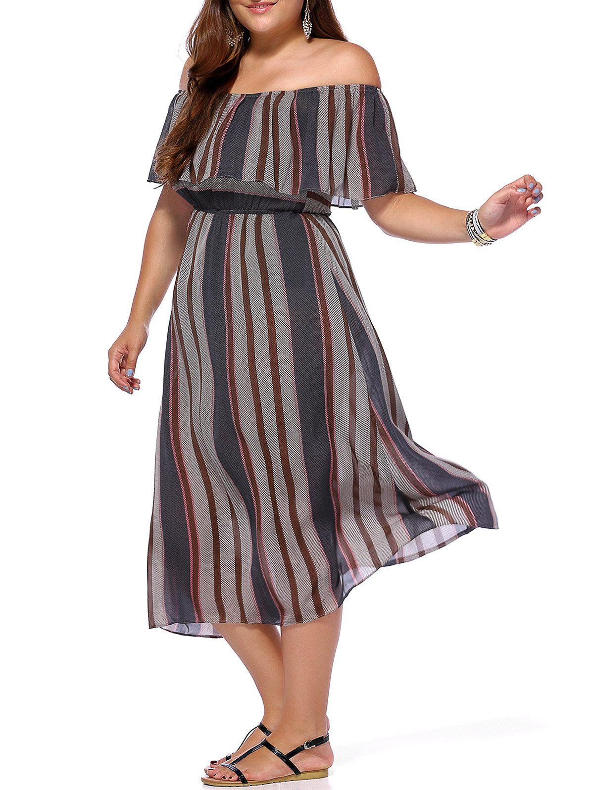 Chic Plus Size Striped Off-The-Shoulder Women's Dress - GRAY ONE SIZE(FIT SIZE L TO 3XL)