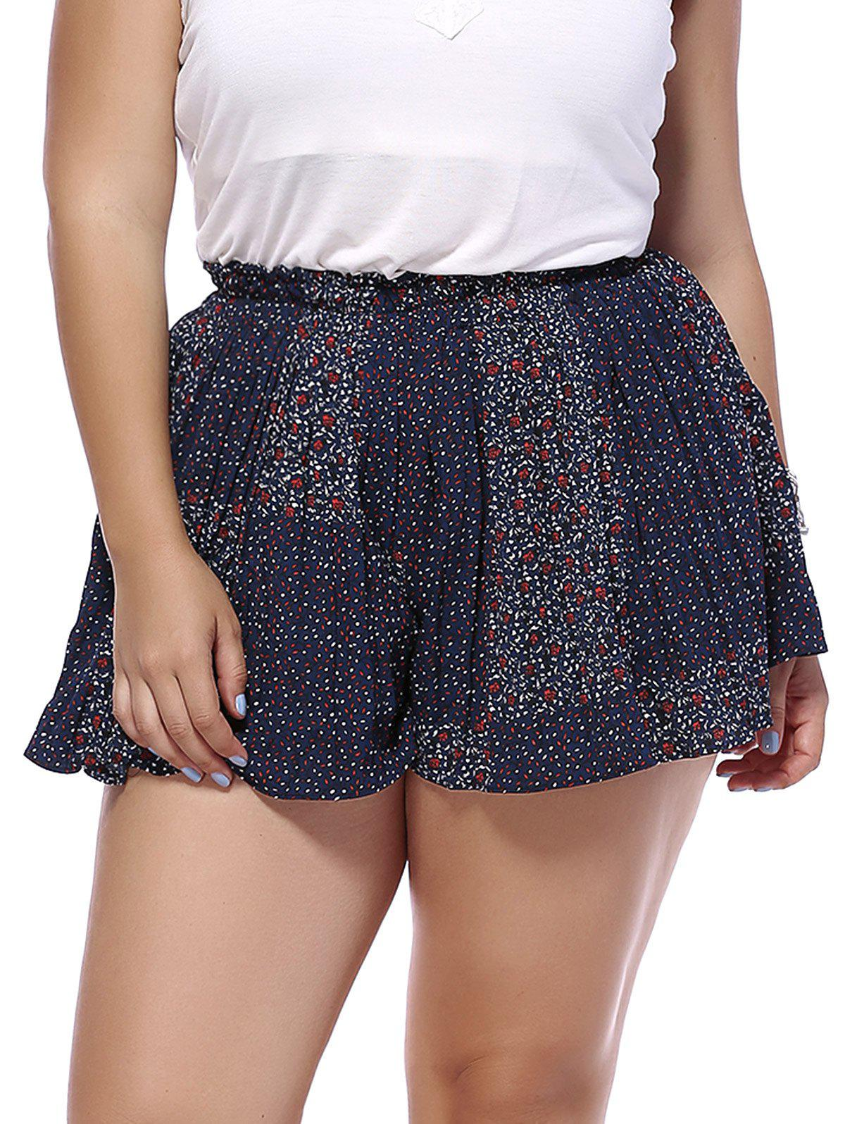 Trendy Plus Size Tiny Floral Pattern Pleated Womens ShortsWomen<br><br><br>Size: ONE SIZE(FIT SIZE L TO 3XL)<br>Color: BLUE