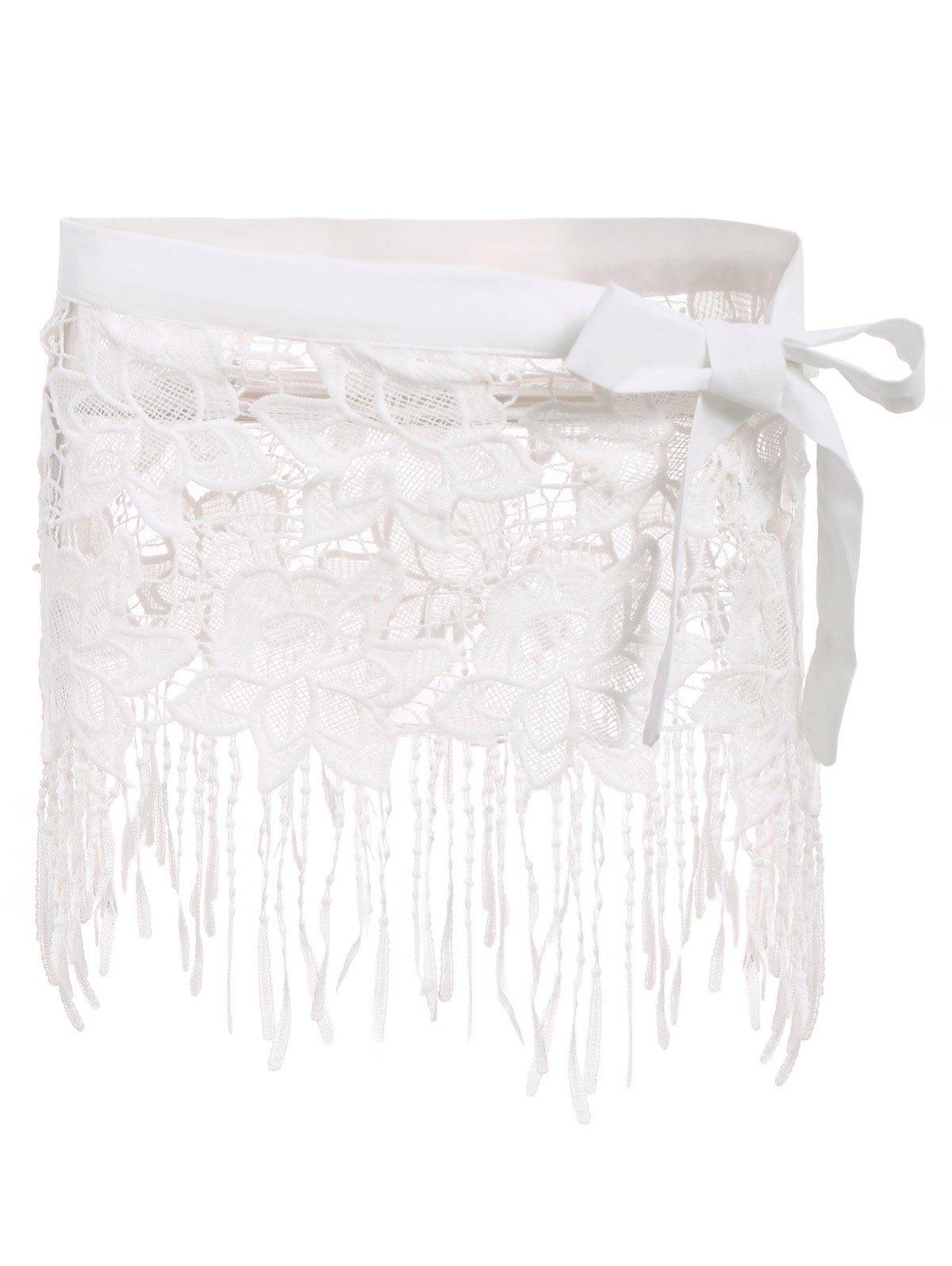 Sexy White Lace Hollow Out Tassels Women's Swim Skirt - WHITE S