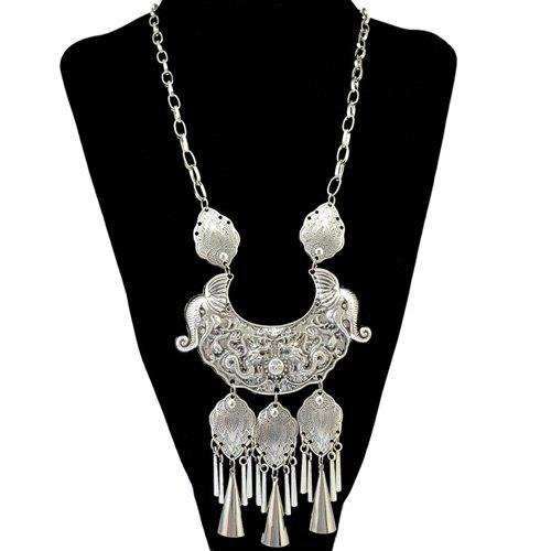 Engraving Dragon Elephant Fringe Statement Necklace - SILVER