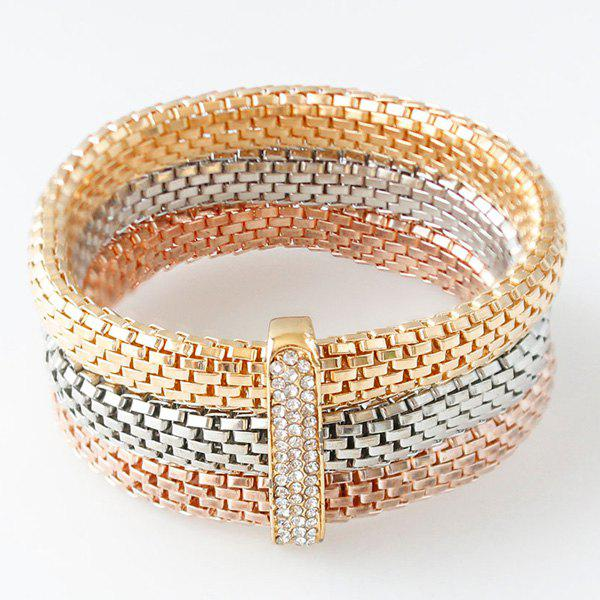 Rhinestone Rectangle Wrap BraceletJewelry<br><br><br>Color: GOLDEN
