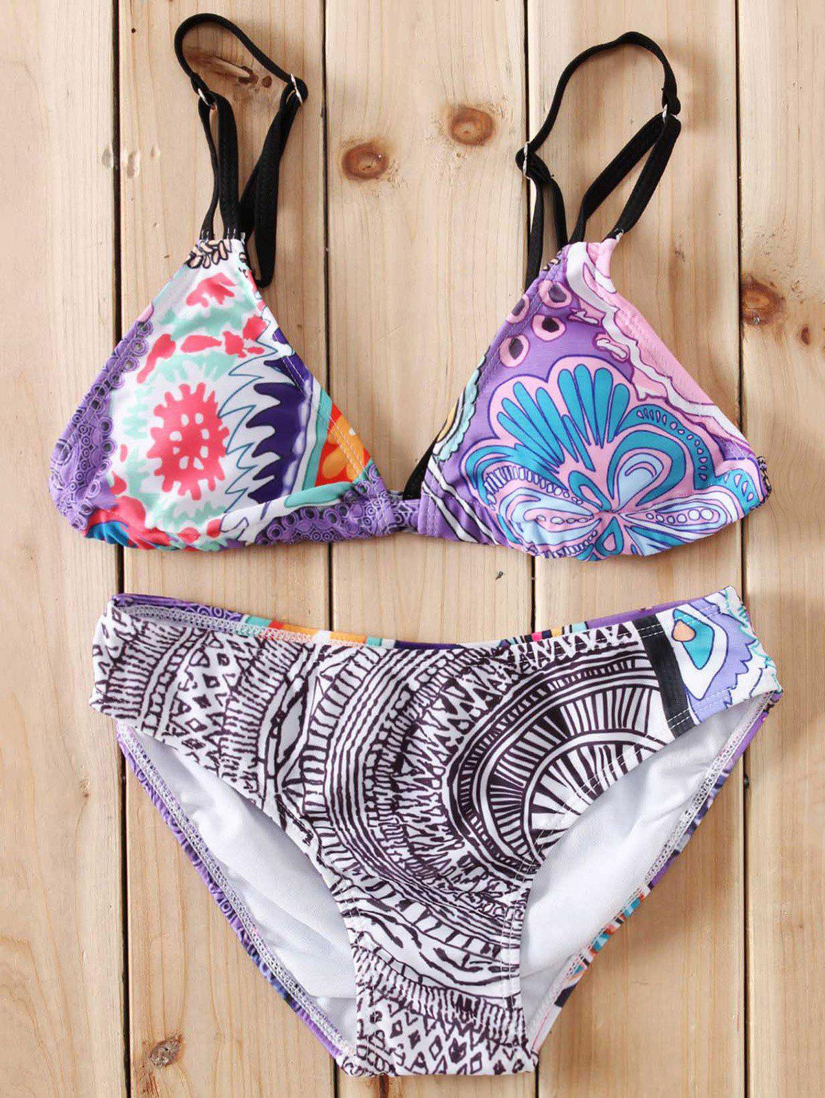 Sexy Cut Out Printed Bikini Set For Women - COLORMIX S
