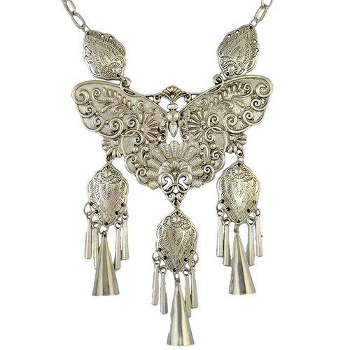 Engraving Butterfly Fringed Statement NecklaceJewelry<br><br><br>Color: SILVER