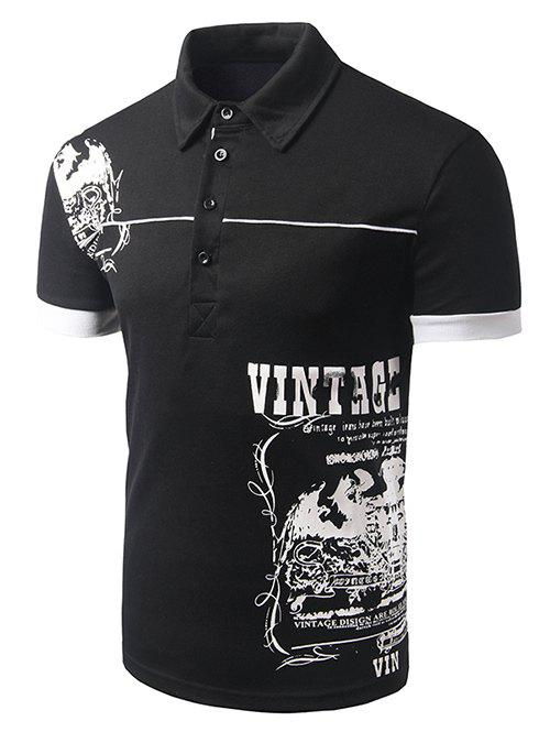 Men's Turn-down Collar Abstract Printed Short Sleeves Polo T-Shirt - BLACK L