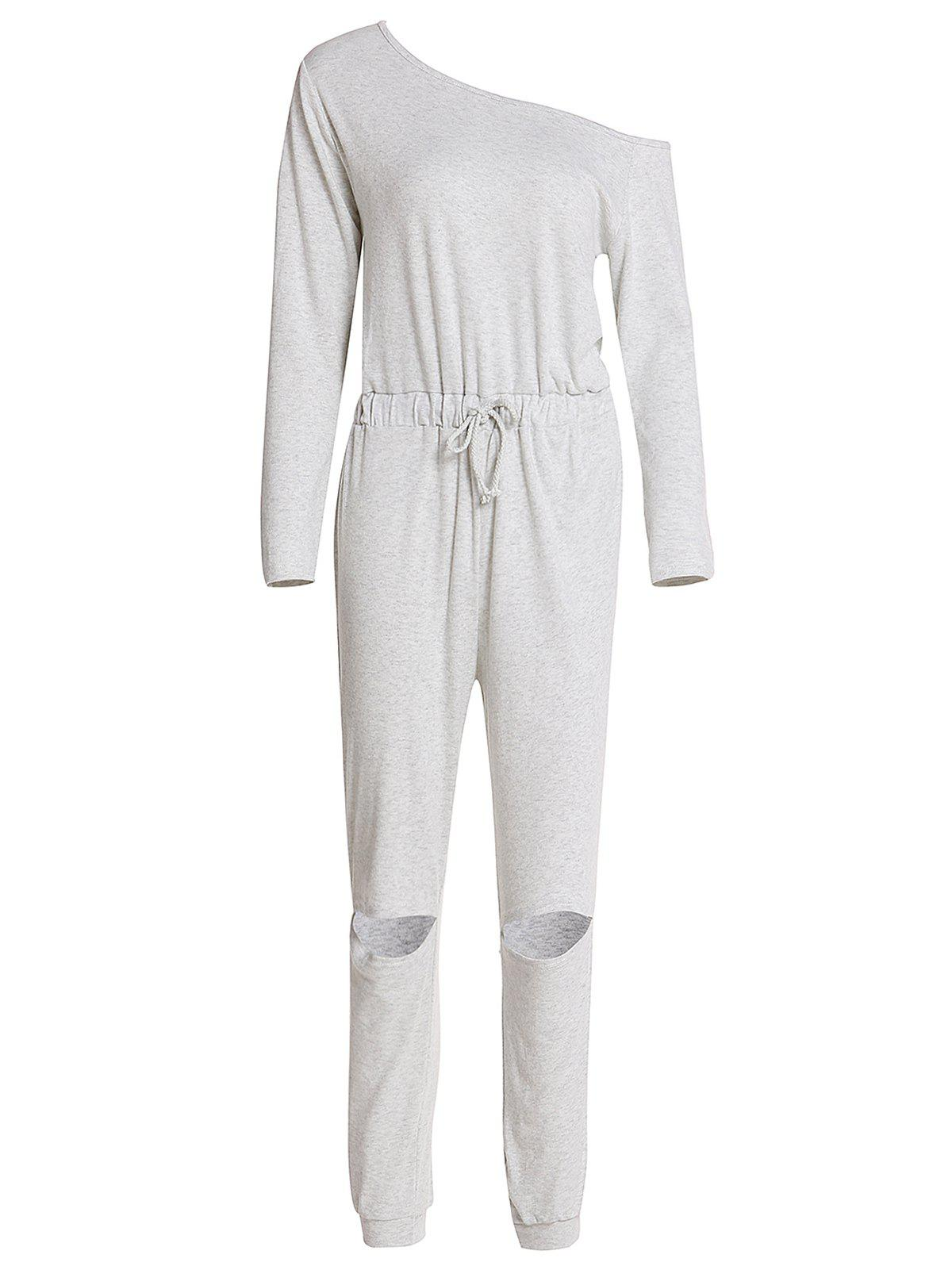 Concise Long Sleeve Waist Tied Cut Out Gray Jumpsuit For Women - GRAY XL