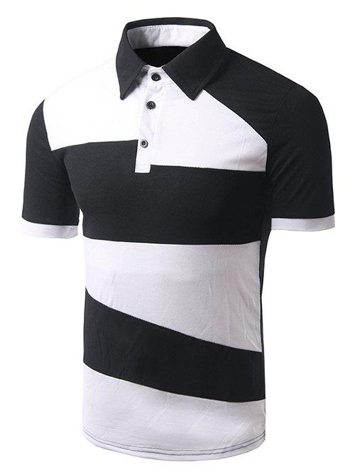 Men's Turn-down Collar Color Block Short Sleeves Polo T-Shirt - BLACK L