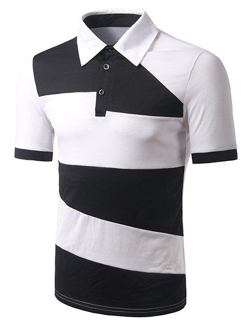 Collier Turn-down Color Block T-shirt court Men 's  Manches Polo - Blanc XL