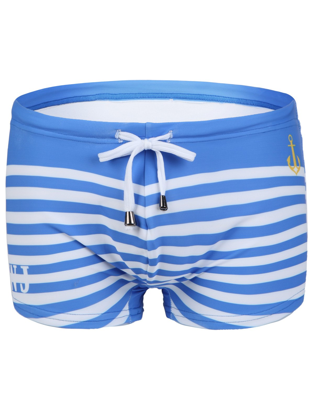 Lace-Up Design Stripe Letter and Anchor Print Men's Swimming Trunks - AZURE XL