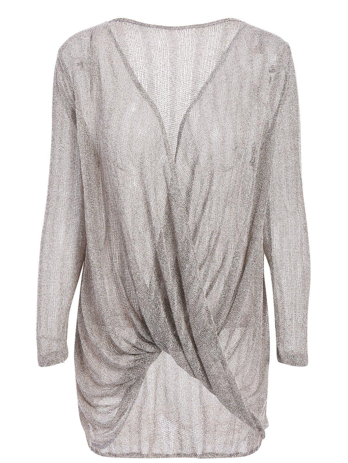 Stylish Loose-Fitting Long Sleeve Solid Color Knitwear For Women - GRAY S