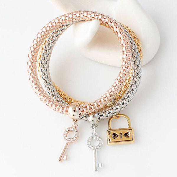 Rhinestone Cut Out Key and Lock Bracelets - ROSE GOLD
