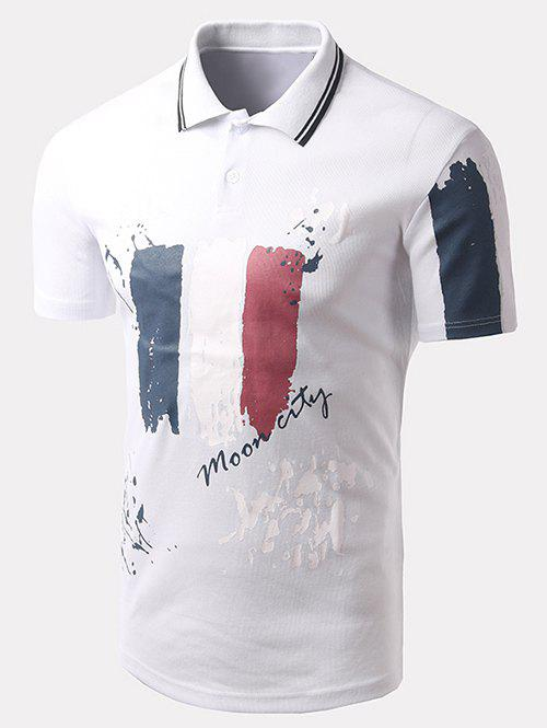 Men's Turn-down Collar Letter Printed Short Sleeves Polo T-Shirt - WHITE 2XL