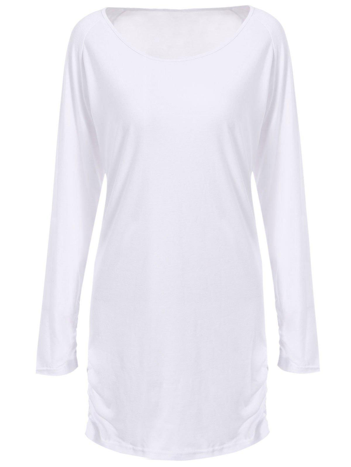 Chic Scoop Collar Long Sleeves Ruffled Pure Color Women's T-Shirt - M WHITE