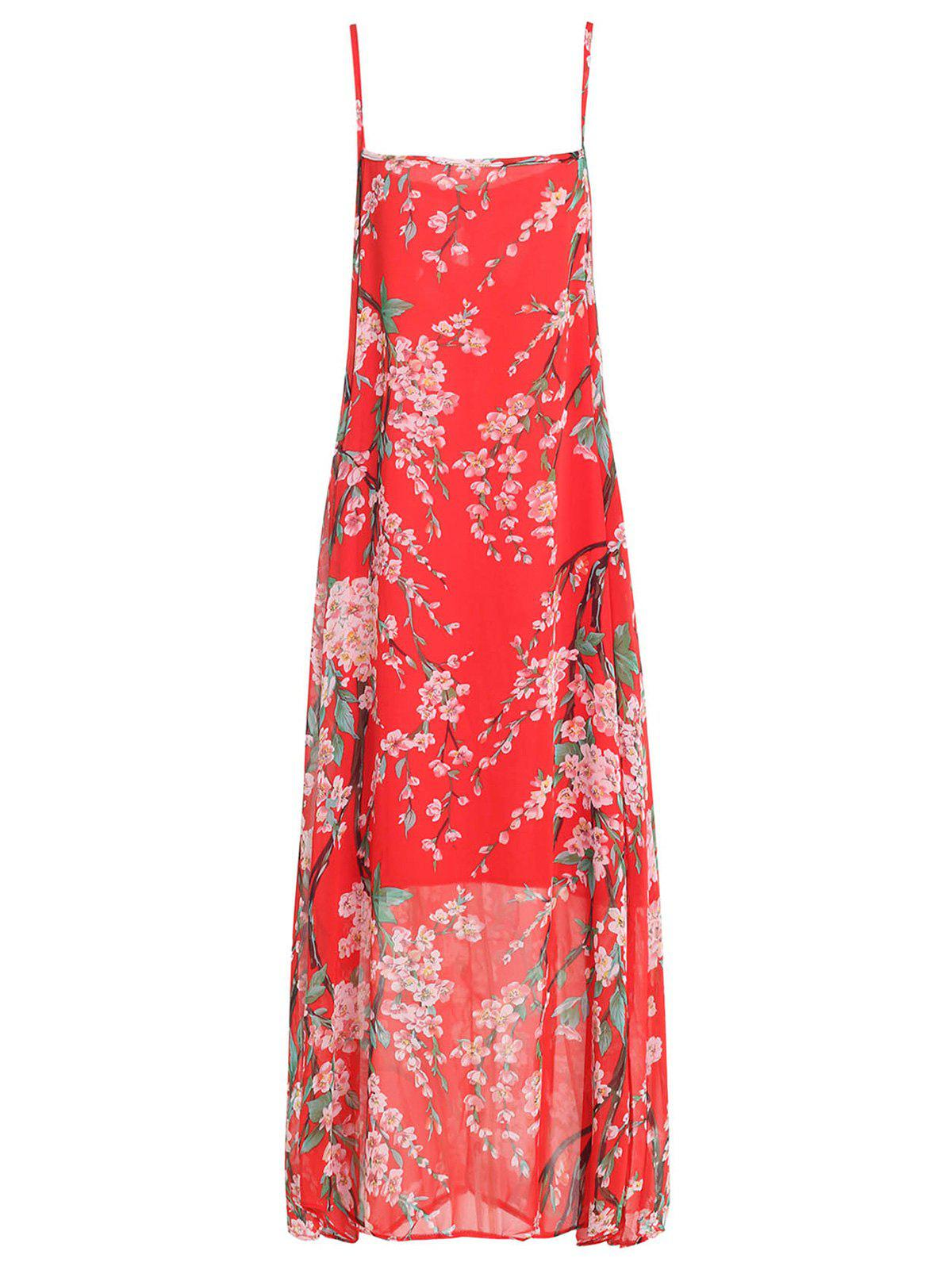 Graceful Spaghetti Strap Sleeveless Floral Print Chiffon Women's Beach Dress
