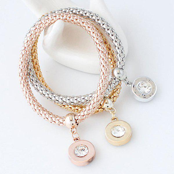 A Suit of Rhinestone Circle Bracelets - ROSE GOLD