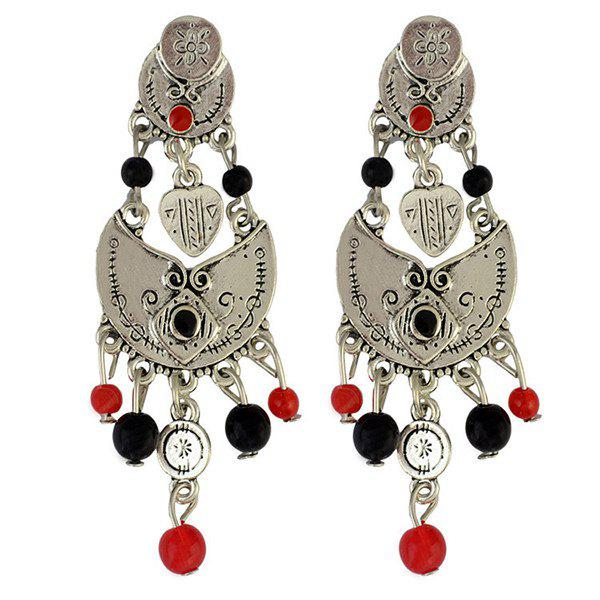 Pair of Ethnic Style Engraved Heart Bead Tassel Earrings - SILVER