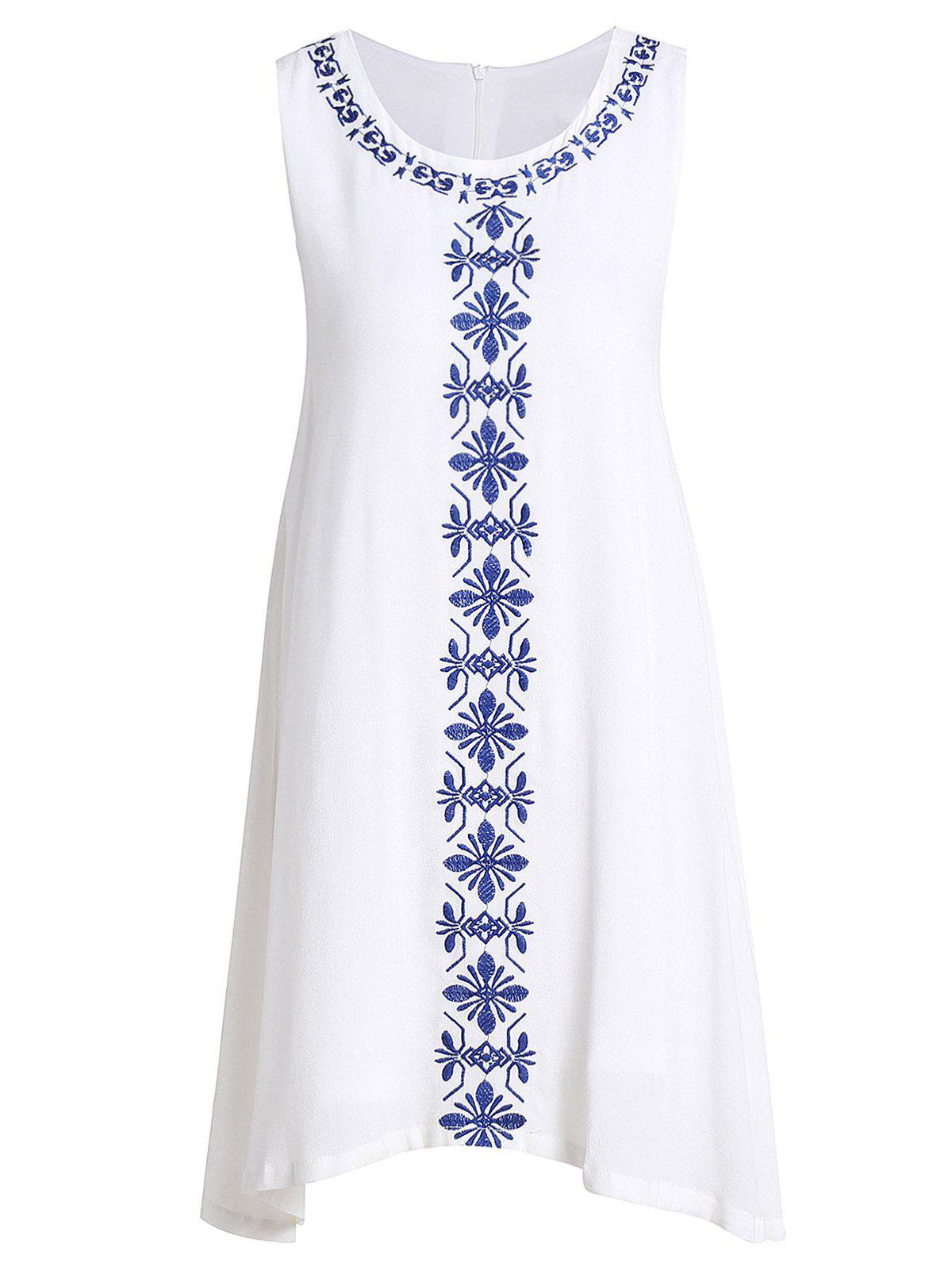 Ethnic Style Jewel Neck Sleeveless Embroidered Women's Dress - WHITE L