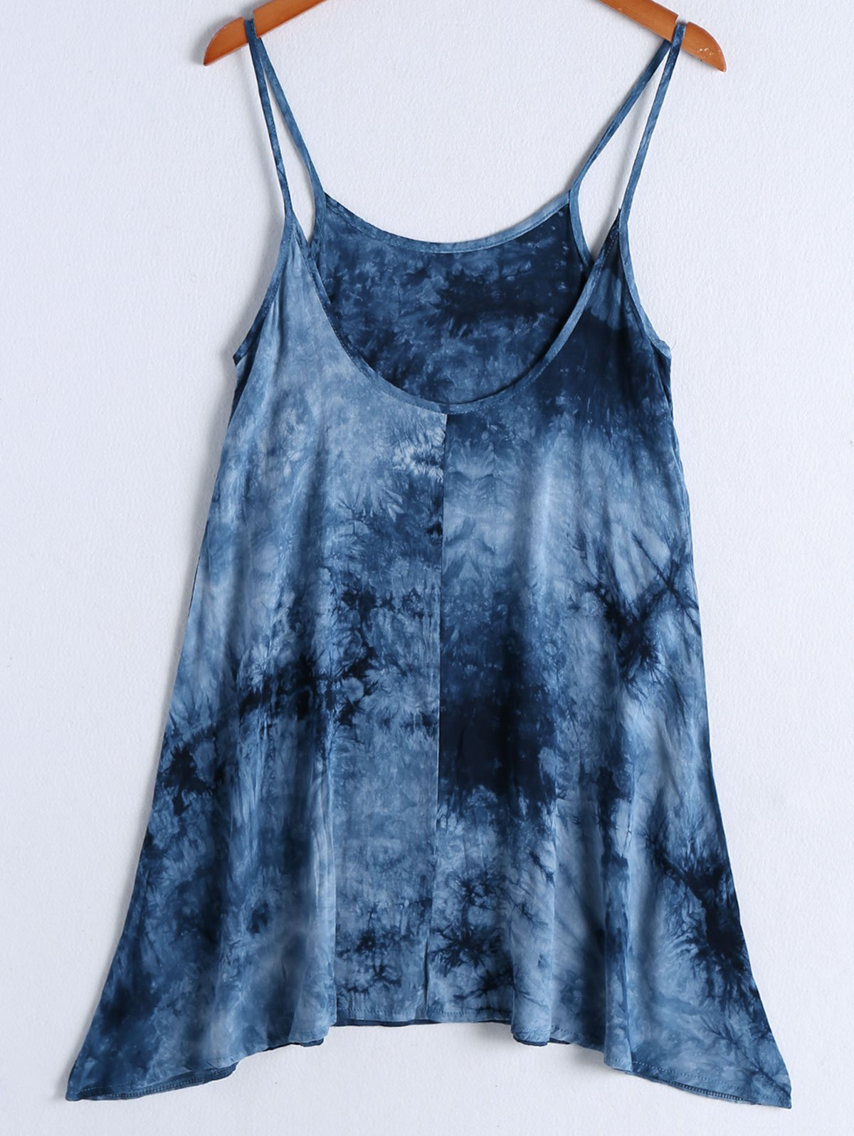 Casual Women's Spaghetti Strap Tie Dye Knee Length Dress - BLUE S