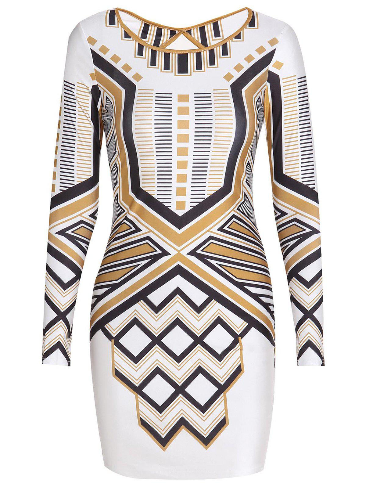 Stylish Round Collar Long Sleeve Backless Slimming Striped Women's Dress - WHITE S