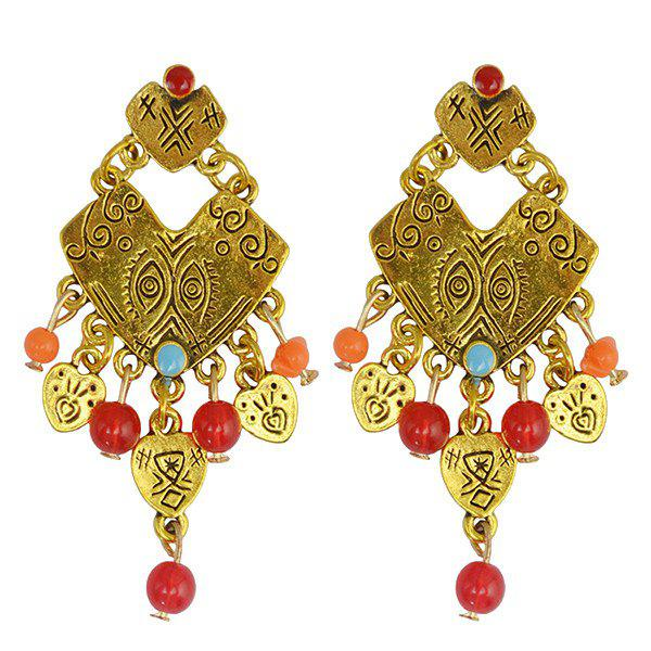 Pair of Irregular Heart Eyes Bead Drop Earrings - GOLDEN