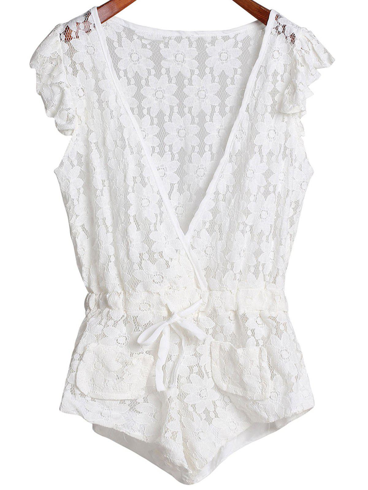 Sleeveless Plunging Neck Cut Out Women's Lace Romper - WHITE S