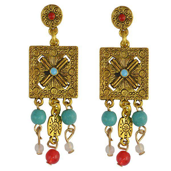 Pair of Ethnic Style Engraved Square Bead Tassel Earrings For Women