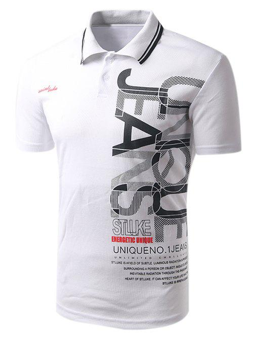 Men's Turn-down Collar Letter Print Short Sleeves Polo T-Shirt - WHITE 2XL