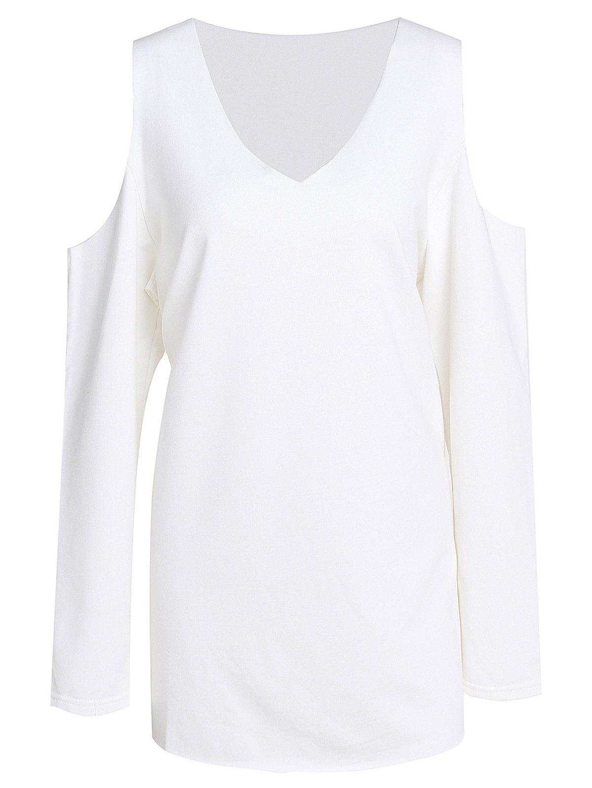 Sweet Women's V-Neck White Long Sleeve Sweatshirt - WHITE XL
