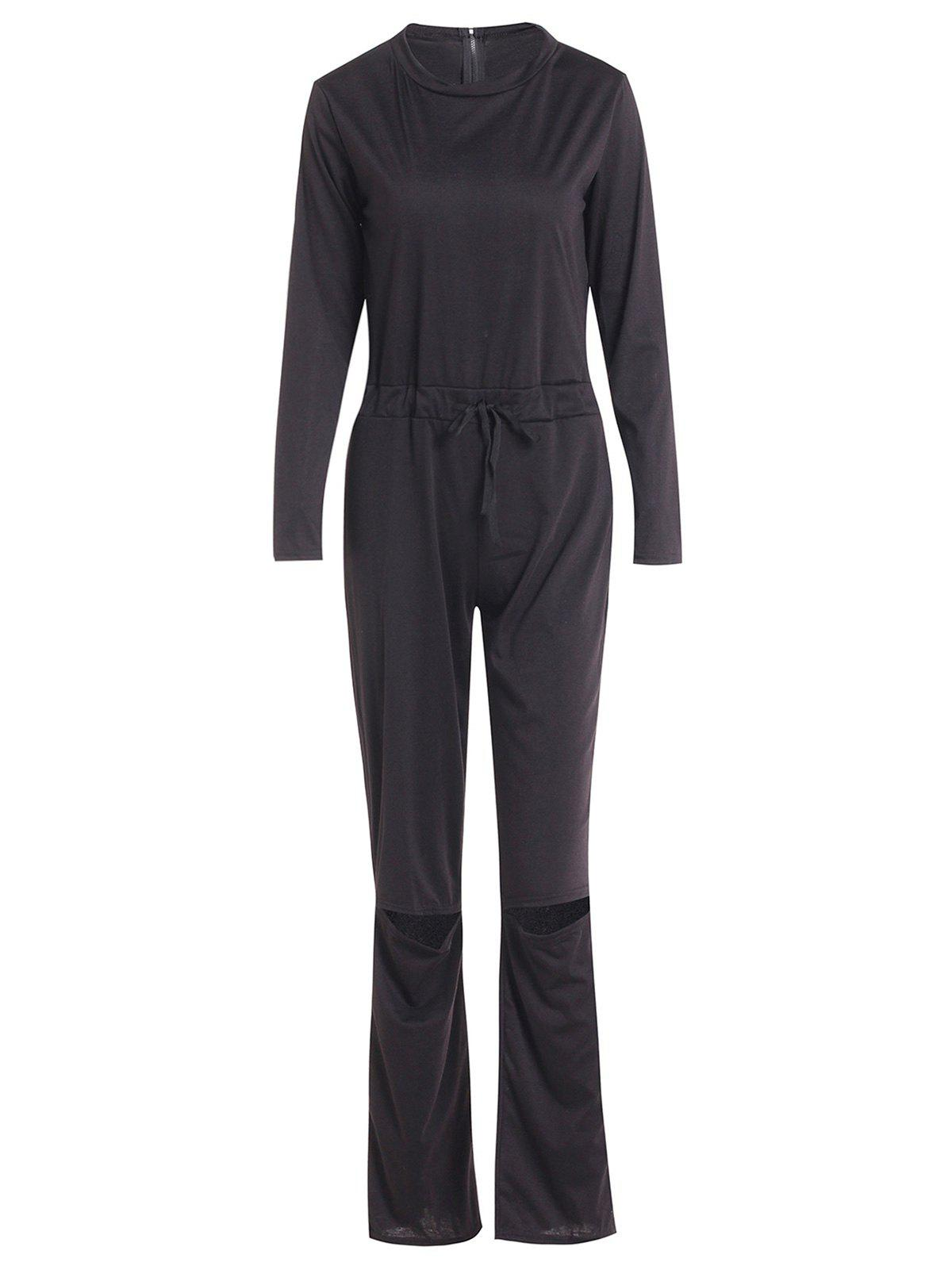 Vogue Women's Skew Collar Broken Hole Long Sleeve Jumpsuit