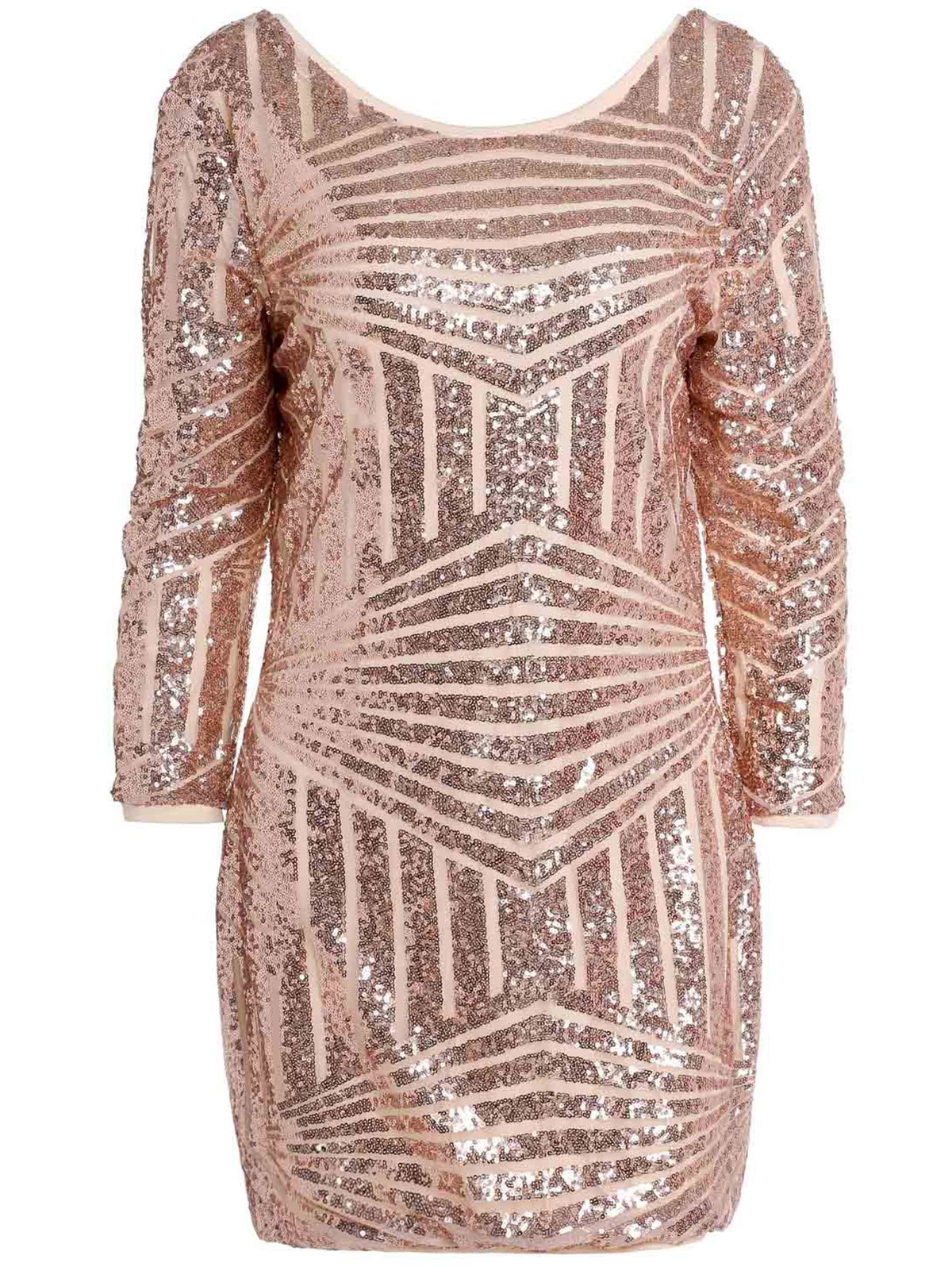 Sexy Backless 3/4 Sleeve Shining Sequined Bodycon Dress For Women - GOLDEN S