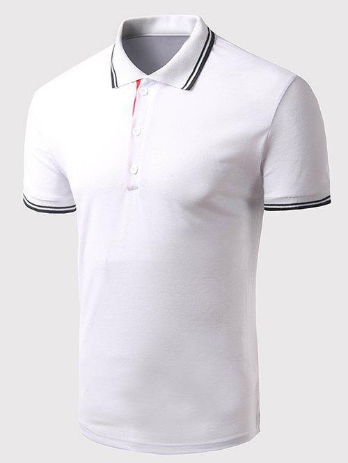 Men's Turn-down Collar Solid Color Short Sleeves Polo T-Shirt - WHITE L