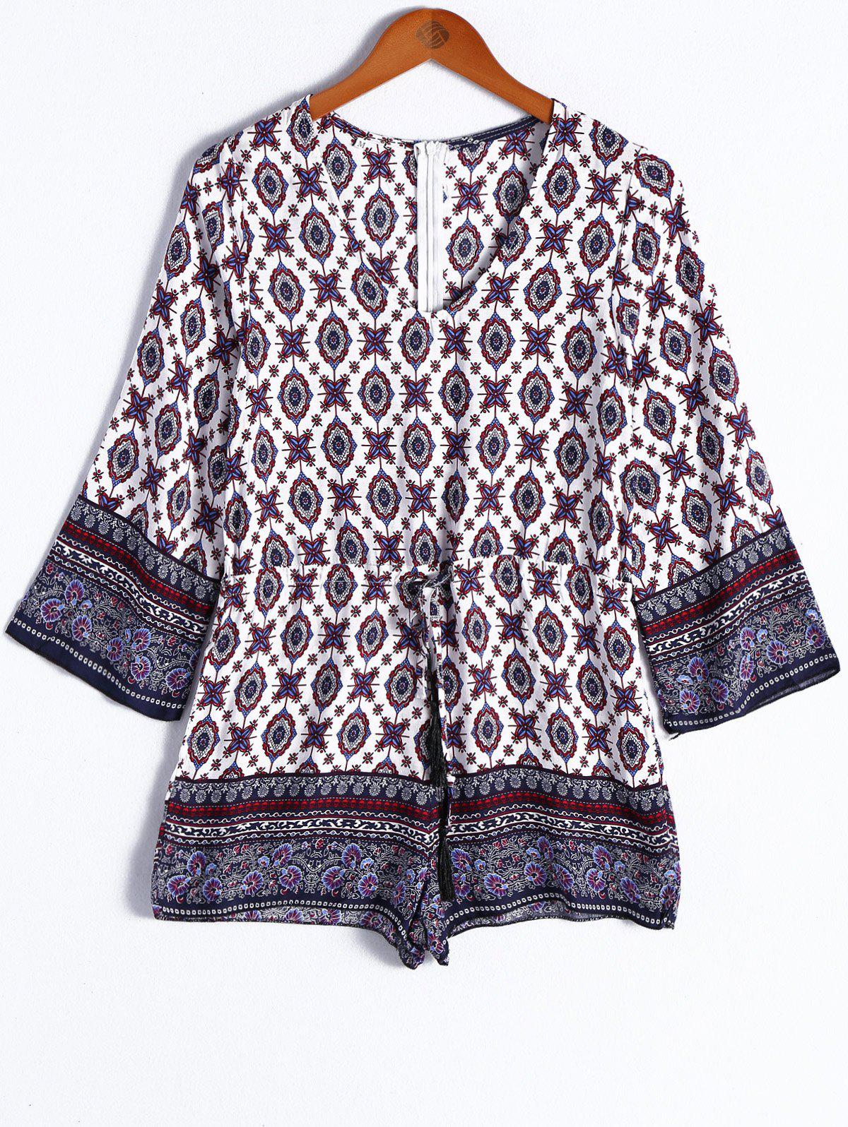 Ethnic Style Women's V-Neck Tribal Print Tie Nine-Minute Sleeves Romper - COLORMIX L
