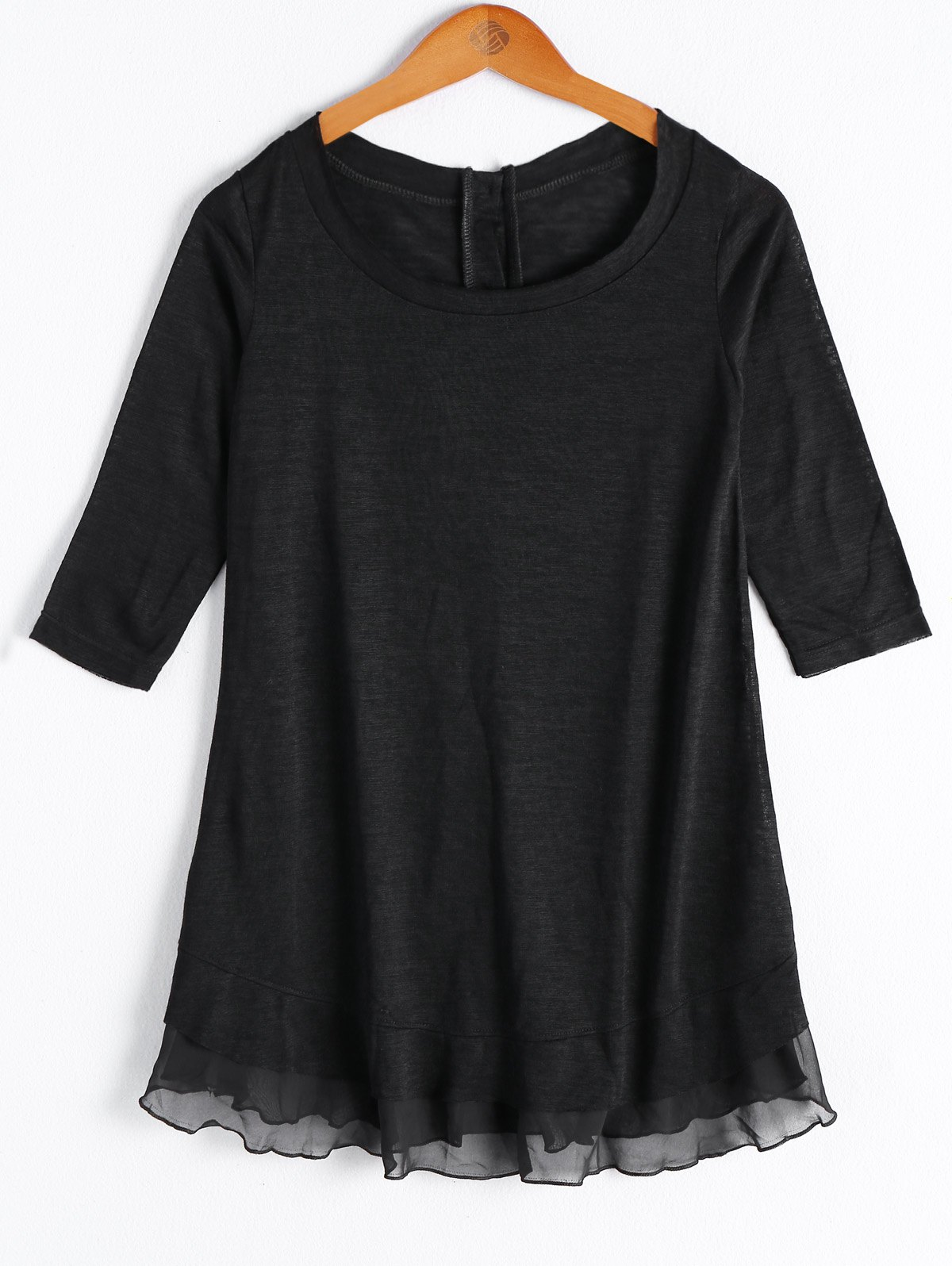 Casual Women's Solid Color Scoop Neck 3/4 Sleeve Button Flounce Blouse - BLACK M
