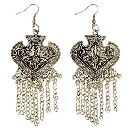 Pair of Ethnic Style Engraved Heart Fringe Earrings For Women